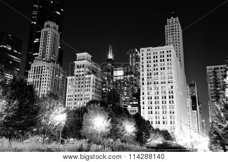 Skyscrapers in downtown of Chicago