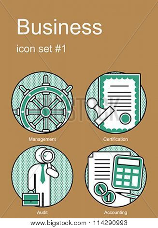 Business icons. Set of editable vector color illustrations.