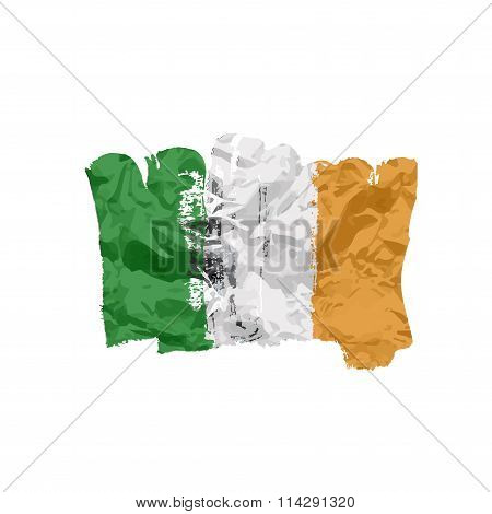 Ireland lag painted by brush hand paints. Art flag.