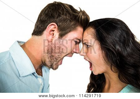 Head to head couple screaming having argument on white background