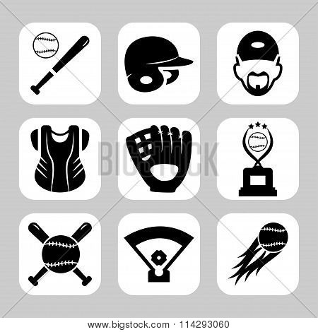 Baseball Related Vector Icon Set. Vector Symbols. Vector Illustration