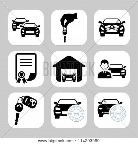 Car Dealership Icons. Vector Symbols. Vector Illustration