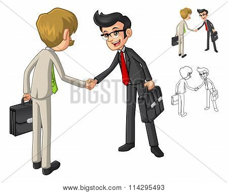 Businessman Hand Shake Poses With Client Cartoon Character