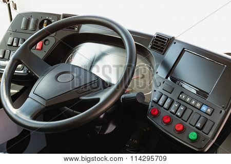 Modern Automobile Dashboard. Screen Multimedia System.