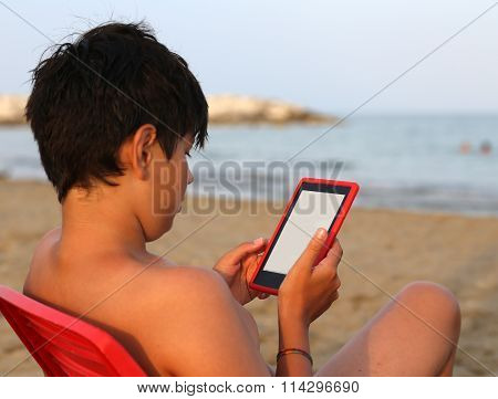 Alone Boy With Hair Blacks Reads An Ebook In Summer