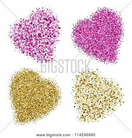 Shapes Of Four Different Hearts From Golden And Pink Glitter
