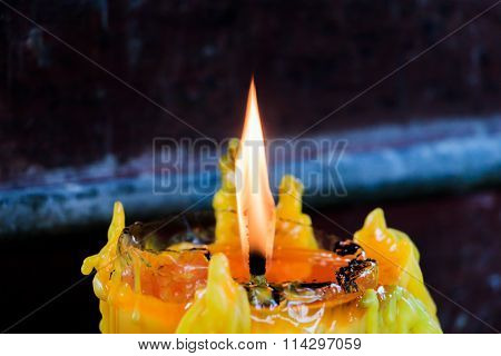 Realistic candles glowing, Candle Flame Fire Light in Temple