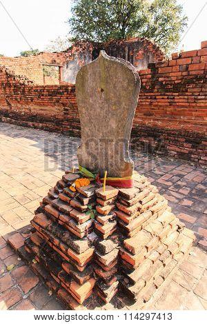 Boundary Marker Of Wat Worachet Temple ,the Ancient Siam Civilization Of Ayutthaya Thailand