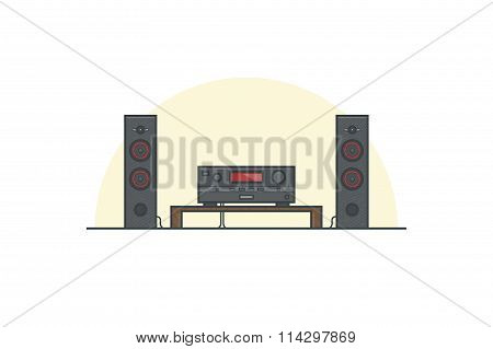 Acoustic system. Line vector illustration.