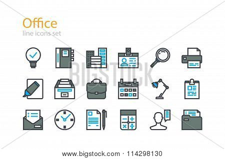 Office. Line icons set. Stock vector.