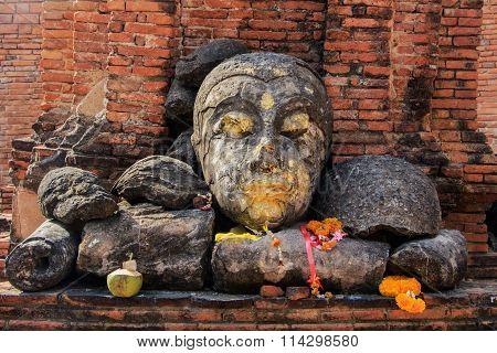 Head of Buddha, Pagoda and Stupa at Wat Worachet Temple ,The Ancient Siam Civilization of Ayutthaya