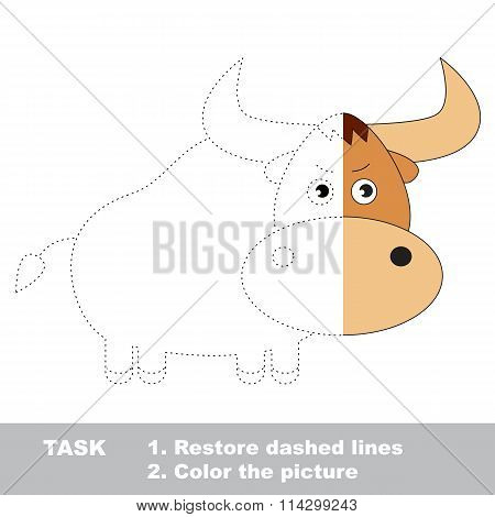Yak to be colored. Vector trace game.