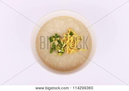 Thai rice porridge with pork, rice gruel.