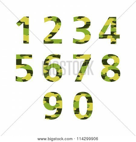 Set Of Numbers Camouflage Coloring