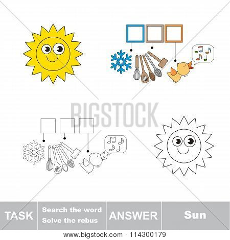 Vector Game. Search The Word. Find Hidden Word Sun