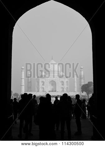 The Taj Mahal Framed In One Of Its Entry Gates