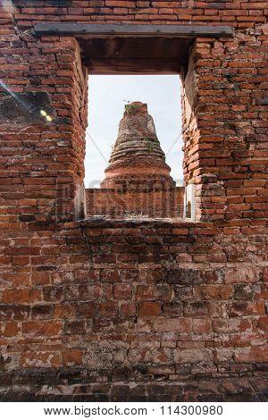 Stupas Pagoda, Pagoda Sculpture of Buddha at Wat Worachet Temple in Ayutthaya Thailand