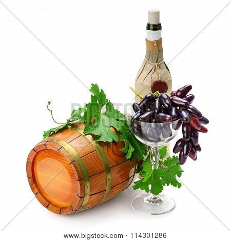 Wine Barrel, Bottle And Glass