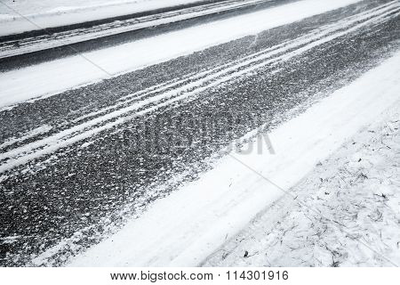Winter Road Background, Asphalt And Snow