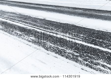 Winter Road, Asphalt Under Fresh Snow Layer