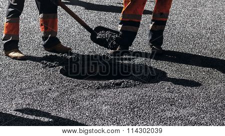 Urban Road Is Under Construction, Asphalting