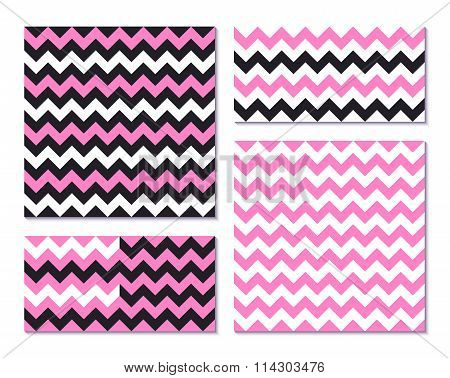 Set of pink seamless patterns with zig zag stripes