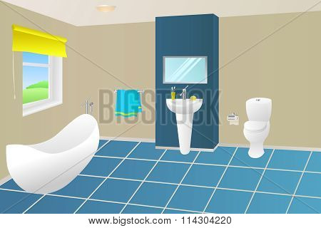 Modern bathroom beige blue yellow bath towel sink toilet window illustration vector