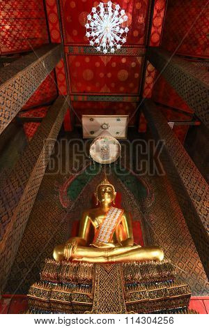 Buddha statue, Buddha image in Wat Intharam (Wat Bang Yi Ruea Nok) - The Old Uposatha of Wat Bang Yi
