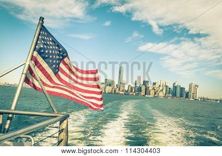 New York And Manhattan Skyline From Hudson River With American Flag - Vintage Filtered Look