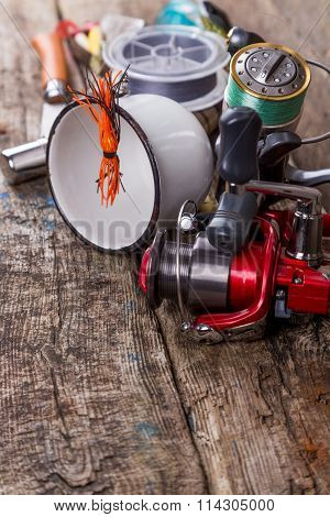 Fishing Tackles, Baits, Line With Flask, Knife And Metal Cup