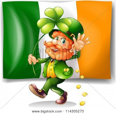 Leprechaun and Irish flag illustration