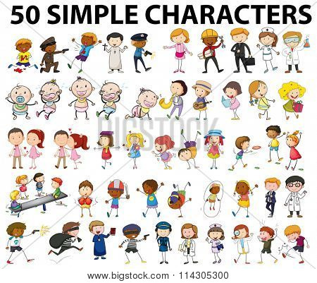 Fifty simple characters doing different things illustration