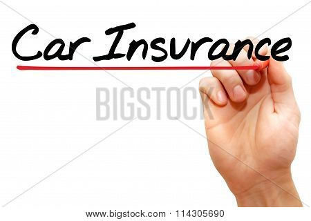 Hand writing Car Insurance