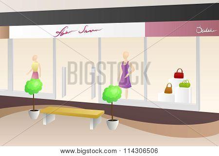 Shopping center mall modern beige interior shop illustration vector
