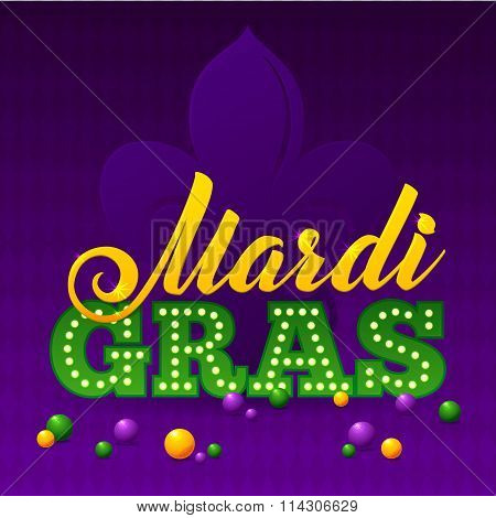 Mardi Gras Party Poster. Calligraphy And Typography Card. Beads And Fleur De Lis Symbol. Holiday Pos