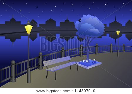 Landscape embankment city summer night river bench lamp illustration vector