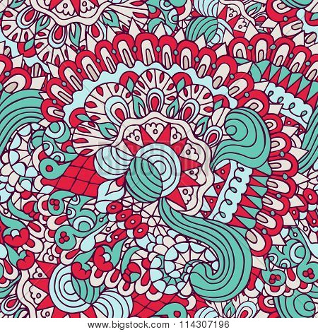 Colorful Doodles Floral And Curves Ornamental Seamless Pattern
