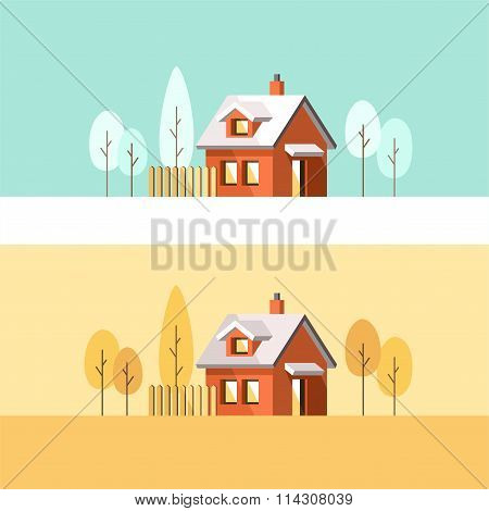 Winter House Autumn House Family Suburban Home