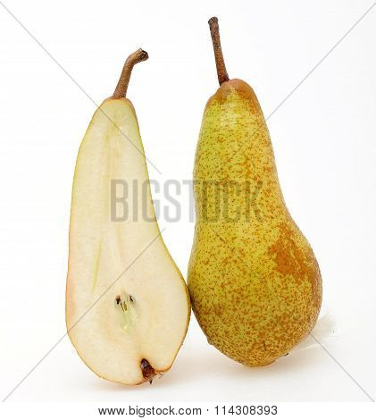 delicious appetizing ripe pear nice cut on a white background