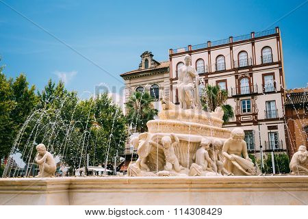 Fountain on the Puerta de Jerez in Seville, Spain