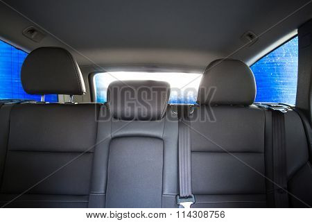 Car in a carwash - view from the interior of the vehicle