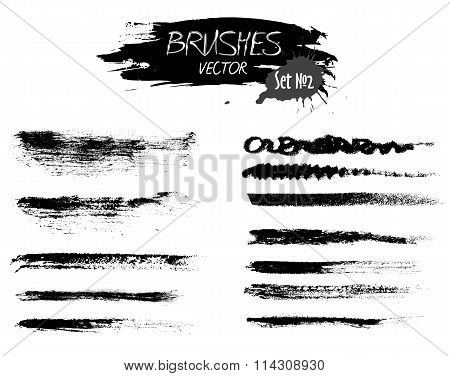Set Two Of Grunge Vector Ink Strokes Or Brushes