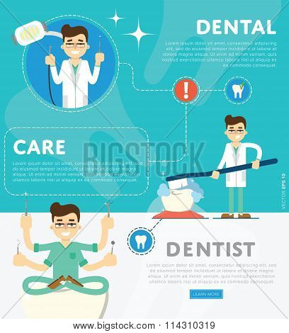 Set of dental infographics