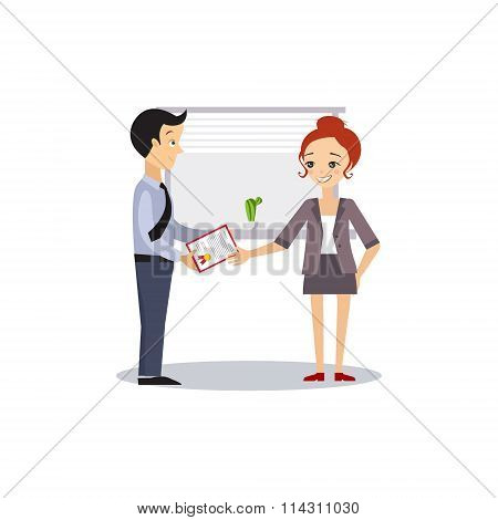 Woman and Manager. Daily Routine Activities of Women. Vector Illustration