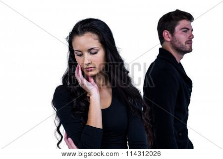 Couple after argument standing on white background