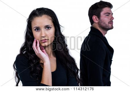 Couple not talking after argument on white screen