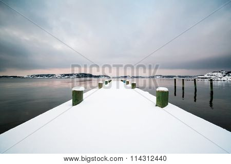 Winter Landscape, Snow on Pier by the Ocean