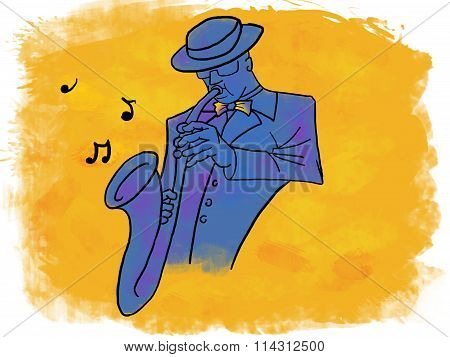 Male saxophonist on yellow background