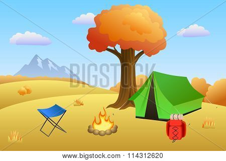 Camping meadow autumn landscape day tent campfire tree illustration vector