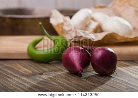 Onions Mushrooms And Chili Pepper